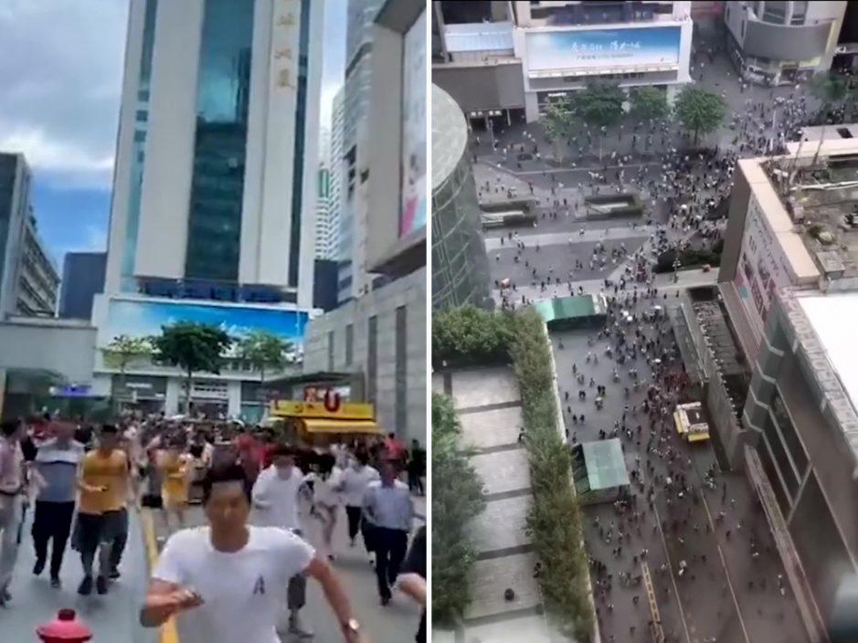 【片段】深圳华强北赛格大楼莫名晃动 民众争相撤离