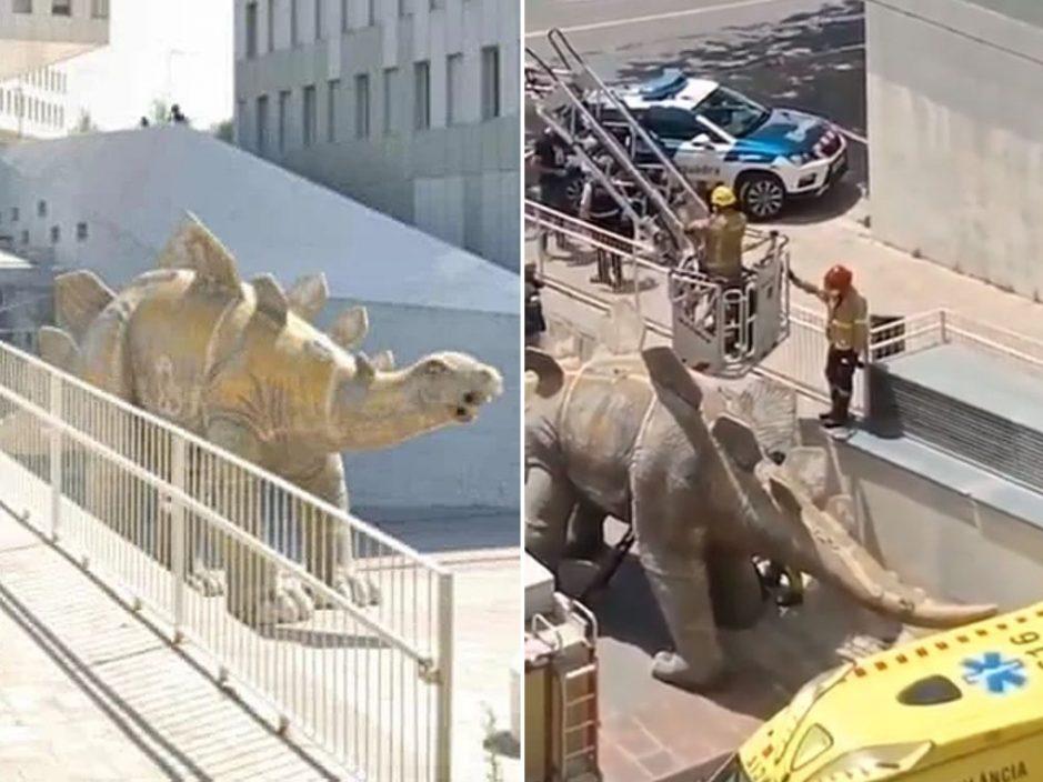 西班牙恐龙雕塑离奇出现男尸 竟是捡手机惹的祸
