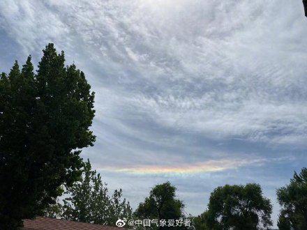 北京上空出現日華+日暈+環地平弧 你看到了么