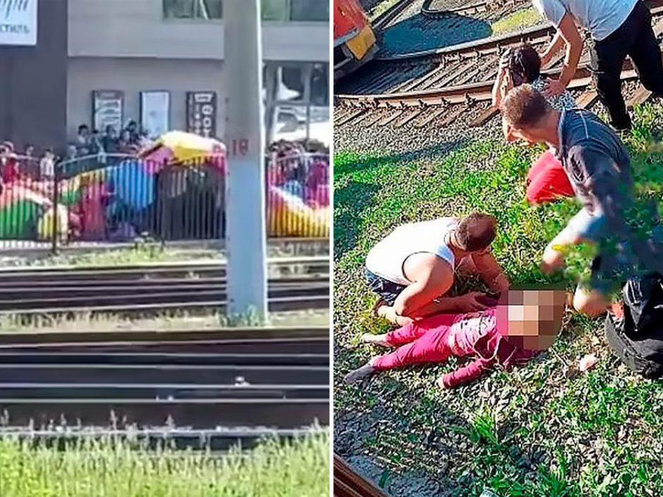 俄罗斯充气城堡爆炸 4岁女童遭炸飞摔落电车轨重伤