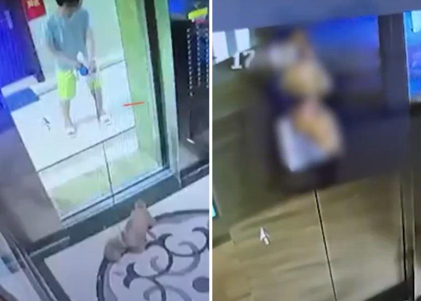 深圳男误让小狗独进电梯 遭狗绳吊半空挣扎险死
