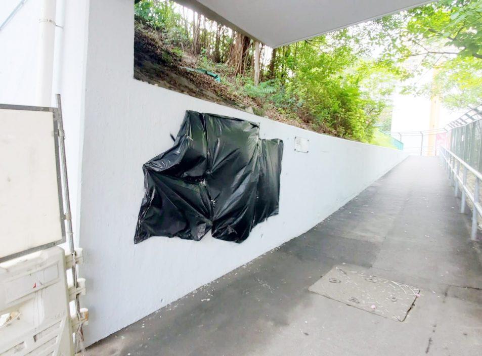 龙翔道桥底墙壁遭涂鸦刑毁 警以胶袋遮盖字句