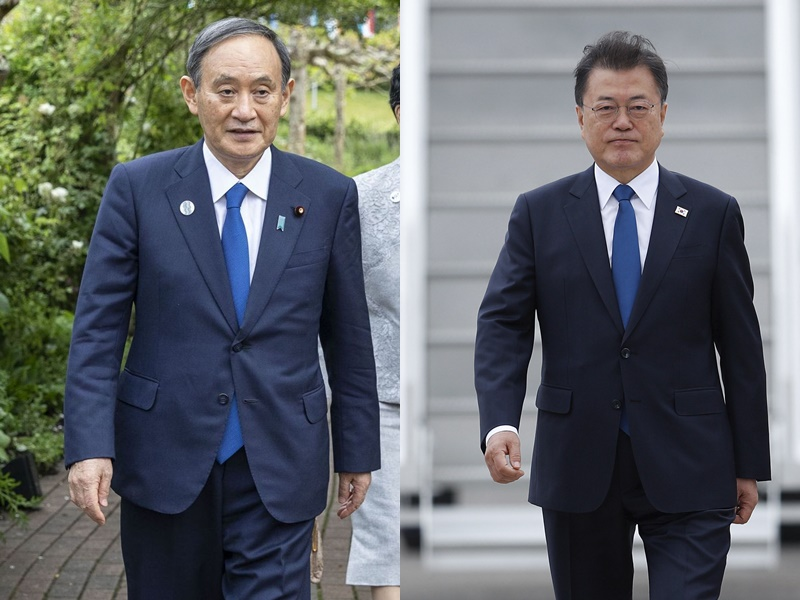 【G7峰会】文在寅与菅义伟互动交谈 备受关注