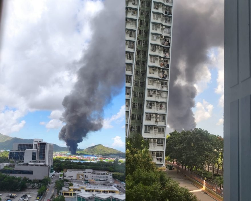 流浮山塑胶厂起火 黑烟浓罩天水围
