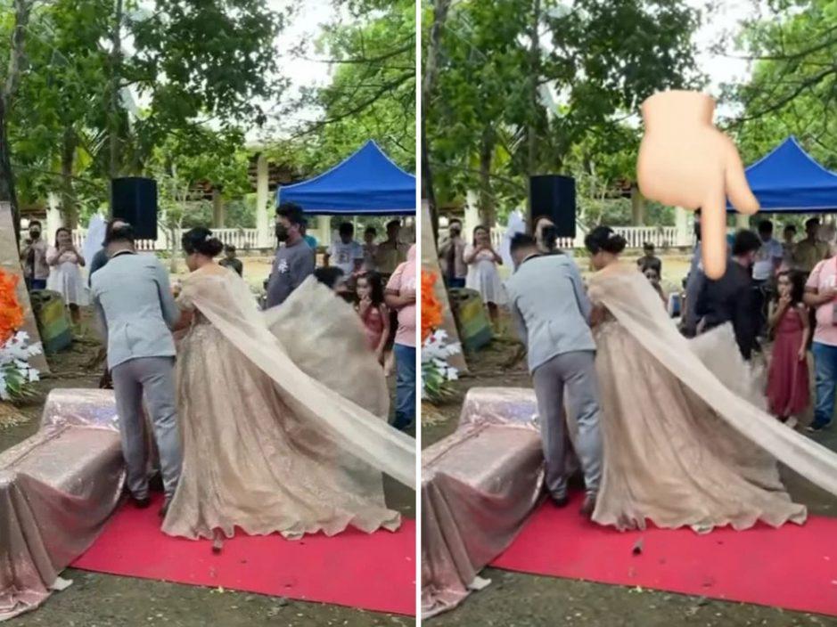 新娘行红地毡裙底钻出神秘男 真相令人起敬