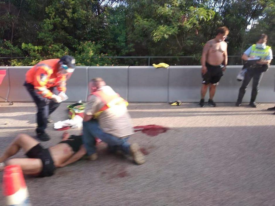 屯门公路男子维修车辆被撞倒 货车司机被捕