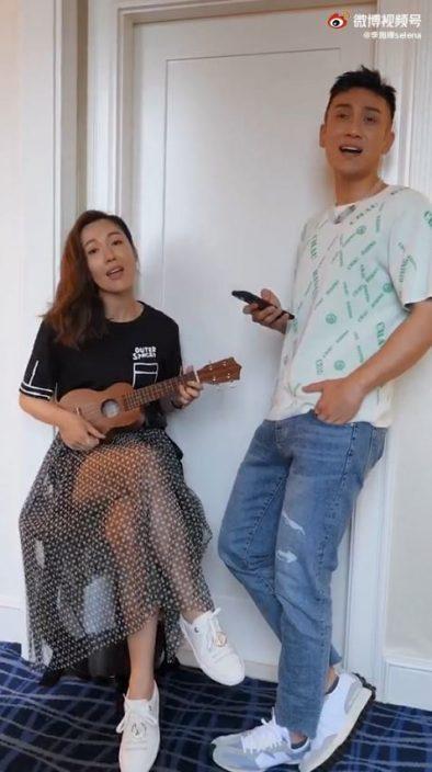 李施嬅弹Ukulele与男生对唱 网民疑问:这是老公吗?
