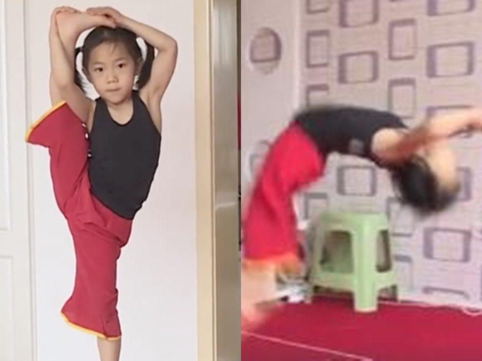 山西6岁女童连做110个后手翻 积极备战破健力士世界纪录