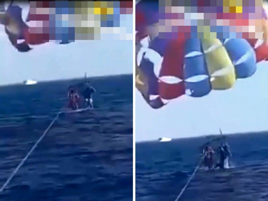 男子跳伞接近海面 遭鲨鱼跃出噬咬重伤