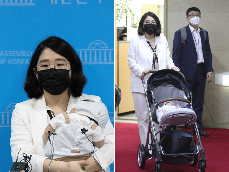 韩国女议员抱2个月大儿子进国会 呼吁修法准许一同上班